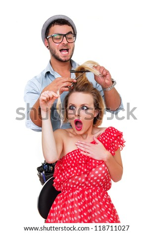Professional male hairdresser, make hairstyle from woman, isolated on white