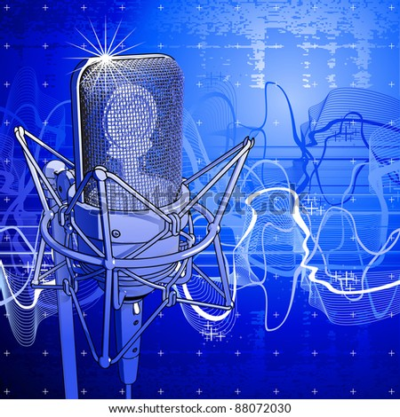 Professional microphone, digital wave & blue technology background. Bitmap copy my vector id 27138508