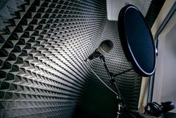 Professional microphone in a black studio