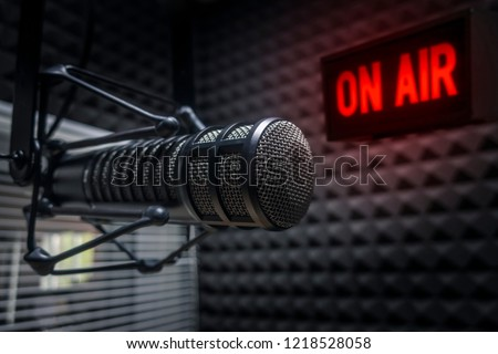 Professional microphone in radio station studio
