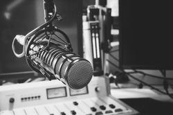 professional microphone in studio radio station