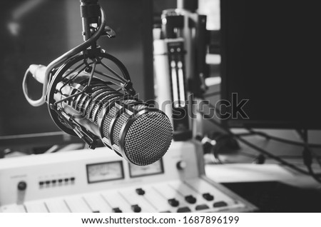 professional microphone in studio radio station