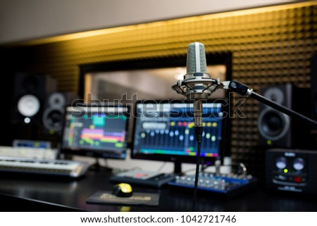 Professional microphone in the recording studio. Stok fotoğraf ©