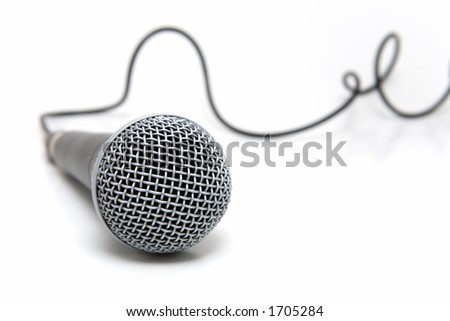 Professional microphone with a cable connected