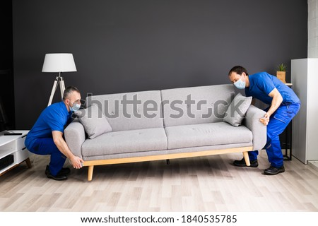 Professional Movers Moving Couch Furniture In Face Mask