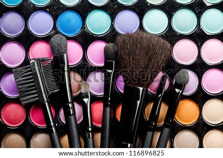 Professional multi colored make-up and brushes