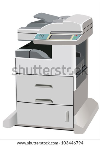 Professional multifunction printer isolated on white