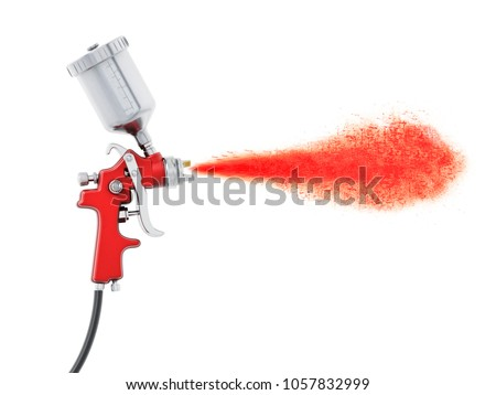 Professional paint gun isolated on white background. 3D illustration.