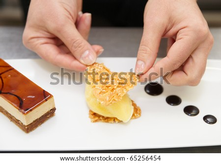 Professional pastry chef is decorating a dessert