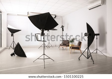 Professional photo studio equipment prepared for shooting interior