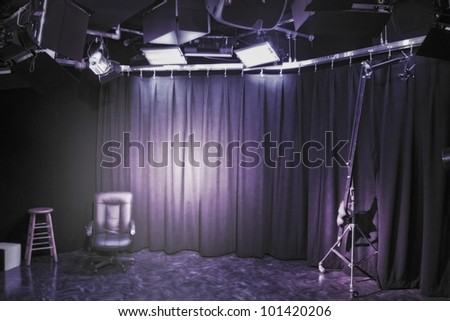 Professional photo-studio interior set up.