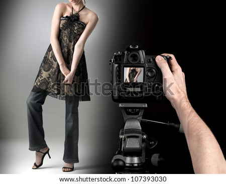 professional photographer at studio fashion shot with a model