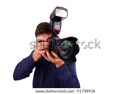 Professional photographer with camera on white background #91748936