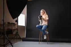 Professional photographer working in studio