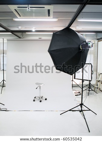stock photo : Professional photography studio setup with flash lighting and