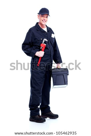 Professional plumber with wrench. Isolated on white background.