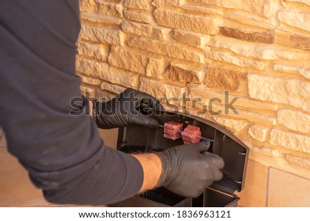 Professional preparing trap for rats, mice, for pest control in a special black box to place the poison. Photo stock ©
