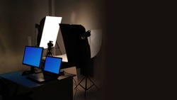 Professional product photography studio in dark environment