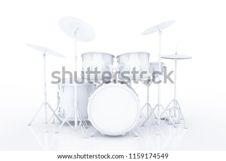 Professional Rock Drum Kit in Clay Style on a white background. 3d Rendering