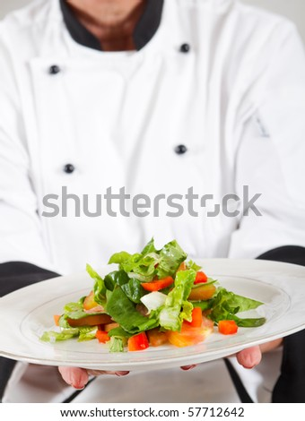 professional senior female chef in kitchen presenting salad