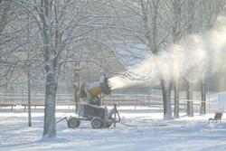 Professional snow making machine close up. Snowgun / snow cannon in winter ski park.