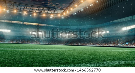 Professional soccer field stadium. 3D illustration