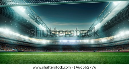 Professional soccer field stadium. 3D illustration