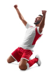 Professional soccer player celebrate victory. Soccer celebration. Isolated on white background