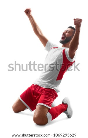 Professional soccer player celebrate victory. Soccer celebration. Isolated on white background #1069293629