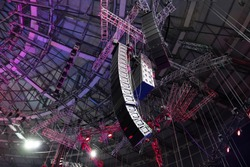 Professional sound speakers. Installation of equipment for performances or concerts