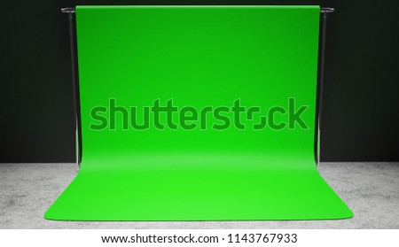 Professional studio green screen setup 3D render. Vignette version.