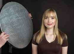 professional studio lighting with reflector.