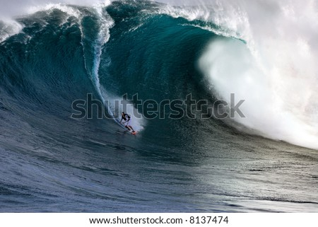 Professional surfing at Jaws, the world's largest wave