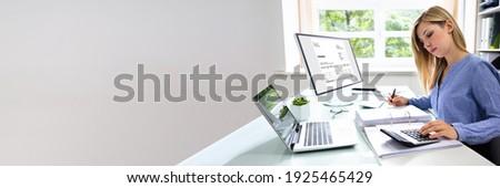 Professional Tax Accountant Using E Invoice Finance Software ストックフォト ©