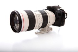 Professional telephoto lens and digital camera body.