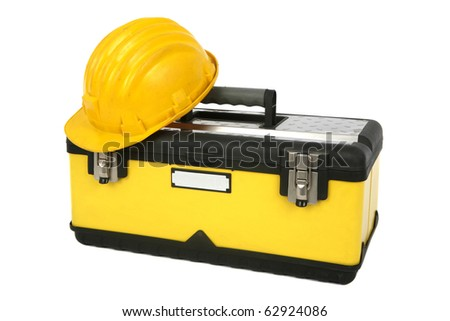 Professional toolbox with hardhat isolated on white background