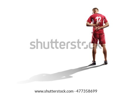 Professional valleyball player isolated on white