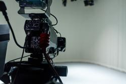 Professional Video Camera Equipment & Lens. Recording Show in TV Studio. – Image
