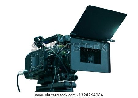 Professional video camera on isolated background. Film and clips making studio equipment, television high technologies. HDTV online broadcasting interview. Media communications and commutations
