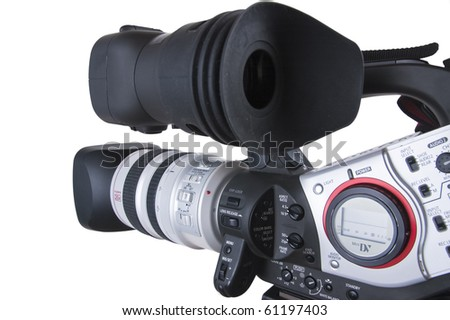 Professional video camera pointing to camera left. The focus is on the middle part of the Camera (with excellent clipping path) - stock photo