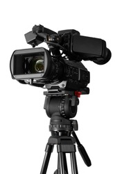 Professional video camera set on a tripod  (with excellent clipping path).