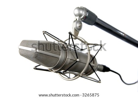 Professional Vintage microphone isolated over a white background