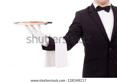 Professional waiter holding an empty dish. Isolated on white background