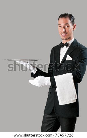 Professional waiter serving with empty stainless tray, perfect for your product