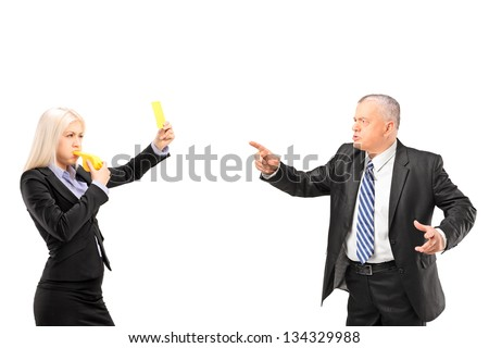 Professional woman showing a yellow card to her boss, isolated on white background