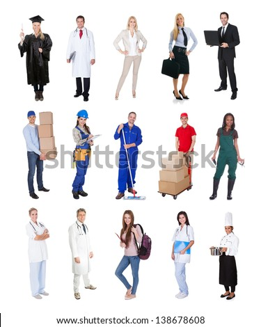 Professional workers, businessman, cook, pilot, doctor, builders. Isolated on white