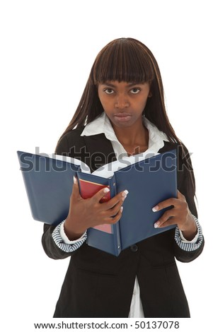 Professional young black female with thick law book in hand