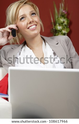 Professional young woman working from home