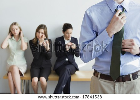 Professionals preparing for job interview - stock photo