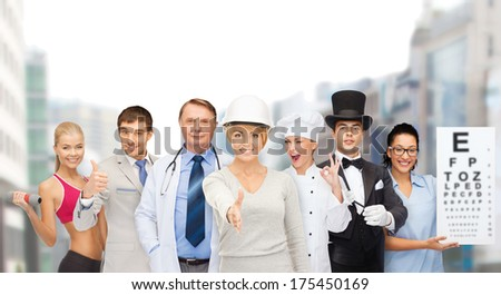 professions and people concept - group of people including businessman, cook, doctor, architect, nurse, magician and personal trainer